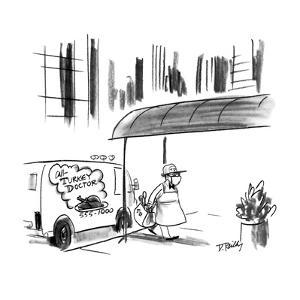 Doctor with bag, surgical mask, and apron enters apartment building, from ? - New Yorker Cartoon by Donald Reilly