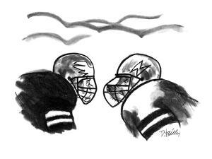 Football player is startled to see that a player on the opposing team has ? - New Yorker Cartoon by Donald Reilly