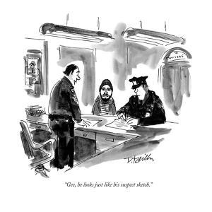 """Gee, he looks just like his suspect sketch."" - New Yorker Cartoon by Donald Reilly"