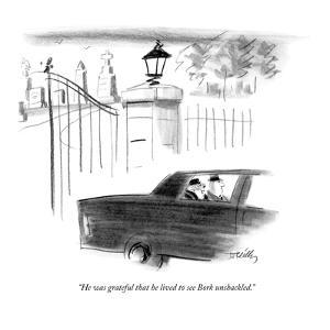 """""""He was grateful that he lived to see Bork unshackled."""" - New Yorker Cartoon by Donald Reilly"""