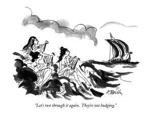 """""""Let's run through it again.  They're not budging."""" - New Yorker Cartoon by Donald Reilly"""