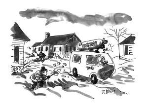 Middle-aged men strenuously shovel snow along suburban street as van drive? - New Yorker Cartoon by Donald Reilly
