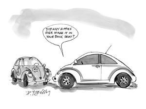 """The new Volkswagen Beetle says to the old model, which is covered in flowe?"""" - New Yorker Cartoon by Donald Reilly"""