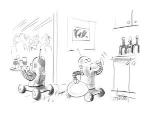 Two robots serving drinks at a party;one is taking a secretive drink in th? - New Yorker Cartoon by Donald Reilly