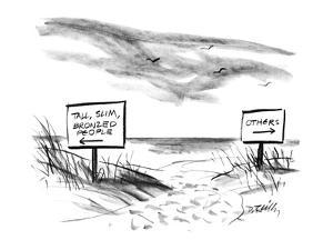 Two signs on a beach that are pointed in opposite directioins; one sign re? - New Yorker Cartoon by Donald Reilly