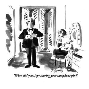 """""""When did you stop wearing your saxophone pin?"""" - New Yorker Cartoon by Donald Reilly"""