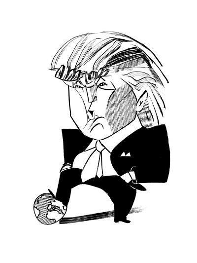 Donald Trump Globe - Cartoon-Tom Bachtell-Premium Giclee Print