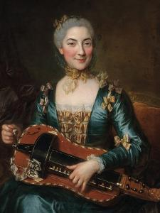 Portrait of a Lady Playing a Hurdy-Gurdy by Donat Nonotte