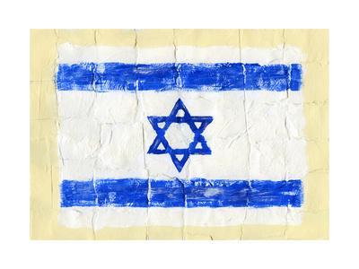 Hand Painted Acrylic Flag Of Israel