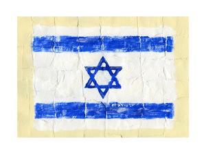 Hand Painted Acrylic Flag Of Israel by donatas1205