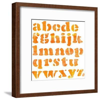 Textured Orange Watercolor Alphabet, Isolated