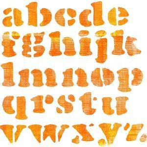 Textured Orange Watercolor Alphabet, Isolated by donatas1205