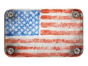 Usa Flag On Metal Texture by donatas1205