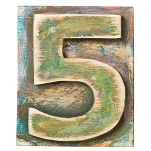 Wooden Alphabet Block, Number 5 by donatas1205