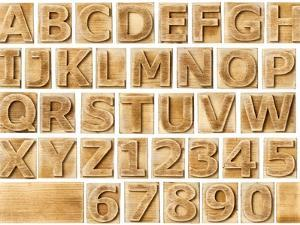Wooden Alphabet Blocks With Letters And Numbers by donatas1205