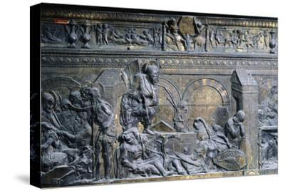 Italy, Florence, Church of San Lorenzo, Resurrection, Detail from Right Side of Relief of Pulpit