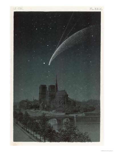 Donati's Comet Observed Over Paris--Giclee Print