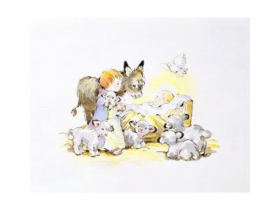 Donkey and Lambs around a Manger-Diane Matthes-Giclee Print