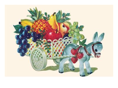 Donkey Fruit Cart--Art Print