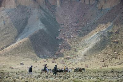 Donkeys and Farmers Make their Way Home Near Band-E Amir, Afghanistan, Asia-Alex Treadway-Photographic Print