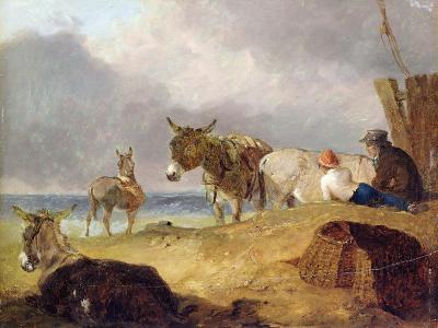 Donkeys and Figures on a Beach-Julius Caesar Ibbetson-Giclee Print