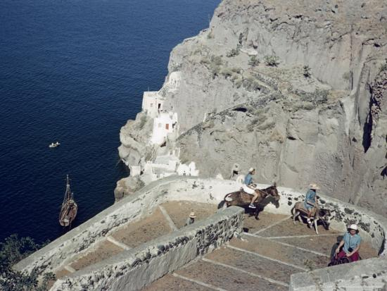 Donkeys Carry Visitors From the Ocean To the Hilltop Town of Thera-Maynard Owen Williams-Photographic Print