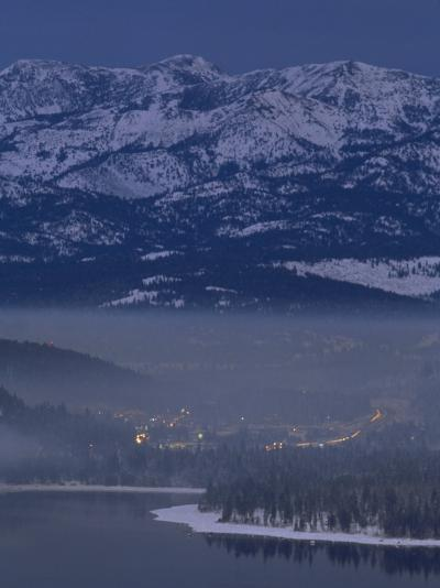Donner Lake and Haze from Wood Smoke over Truckee, California-Phil Schermeister-Photographic Print