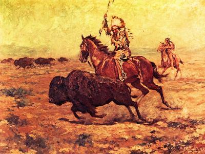 Doomed - Indian Hunting Buffalo-Charles Shreyvogel-Art Print