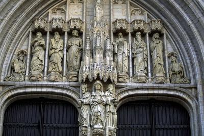 Door of Brabantine Gothic Style, St Michael and St Gudula Cathedral, Brussels, Detail, Belgium--Giclee Print