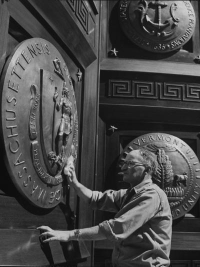 Door of Federal Reserve Bank with Seals of the 6 New England States-Allan Grant-Photographic Print