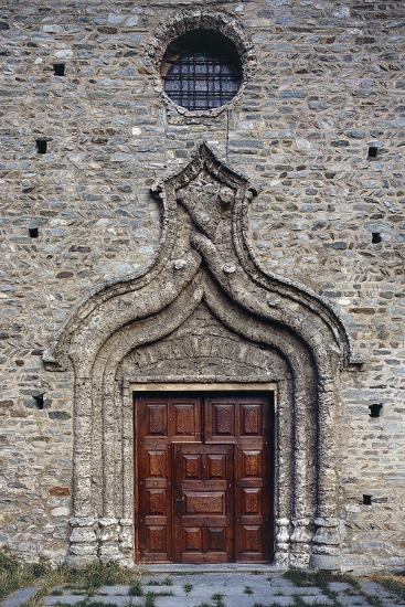 Door of the Church of St Martin, Arnad, Valle D'Aosta, Italy--Giclee Print