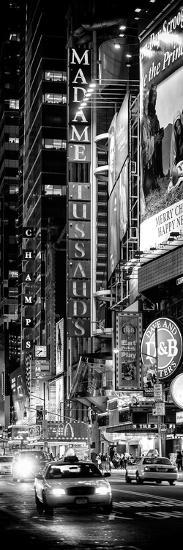 Door Posters - NYC Urban Scene with Yellow Taxis by Night - 42nd Street and Times Square-Philippe Hugonnard-Photographic Print