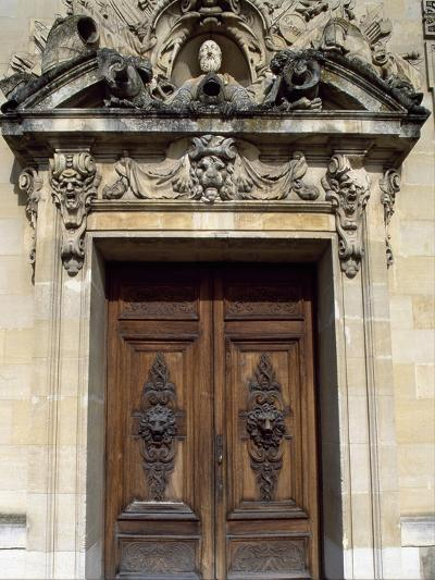 Door with Decorative Relief, Palace of Fontainebleau--Photographic Print