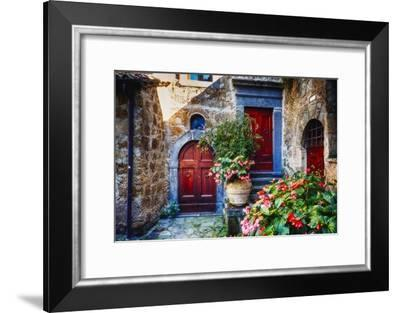 Doors And Flowers in Civita Di Bagnoregio-George Oze-Framed Photographic Print