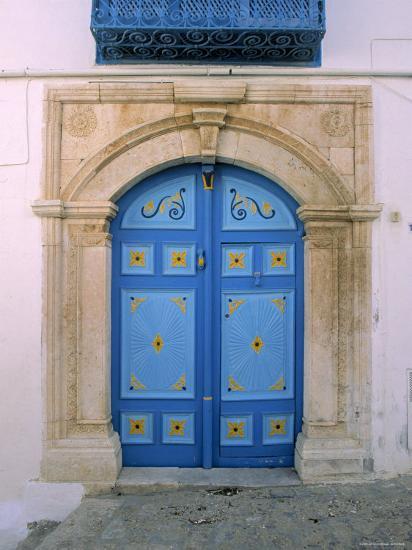 Doorway, Sidi Bou Said, Tunisia-Jon Arnold-Photographic Print