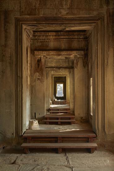 Doorways, Inner Gallery, Khmer Temple, Angkor World Heritage Site, Siem Reap, Cambodia-David Wall-Photographic Print