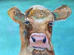 Gazing Cow 1 by Doris Charest