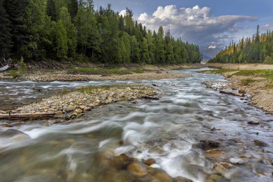 Doris Creek Runs into Hungry Horse Reservoir with Flathead Range, Flathead National Forest, Montana-Chuck Haney-Photographic Print