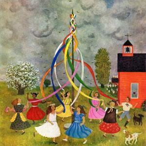 """""""Schoolyard Maypole Dance,"""" May 4, 1946 by Doris Lee"""