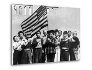 American Children of Japanese, German and Italian Heritage, Pledging Allegiance to the Flag by Dorothea Lange