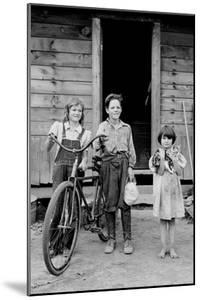 Beautiful Children with Bike and a Cat by Dorothea Lange