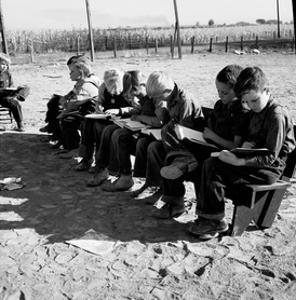 Boys Read School Books by Dorothea Lange