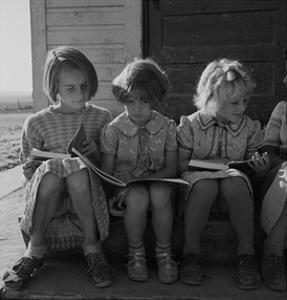 Little Girls Read their Lessons by Dorothea Lange