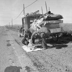Missouri family after the drought near Tracy, California, 1937 by Dorothea Lange