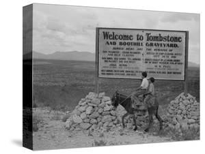 Sign entering Tombstone, Arizona, 1937 by Dorothea Lange