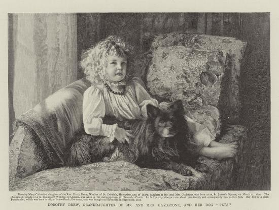 Dorothy Drew, Granddaughter of Mr and Mrs Gladstone, and Her Dog Petz--Giclee Print