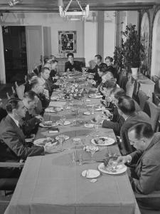 Dorothy Shaver, President of Lord and Taylor Department Stores, Having Lunch with Her Executives