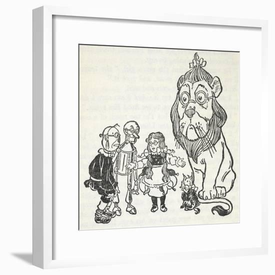 Dorothy, Toto, the Scarecrow, Tinman (Tin Woodman) and the Cowardly Lion, From 'The Wizard Of Oz'-William Denslow-Framed Giclee Print