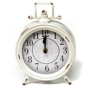 Dorothy Vintage White Metal Table Clock