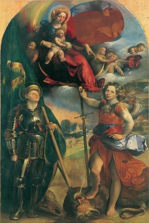 Madonna in Glory with Child, Angels & Sts George and Michael Archangel